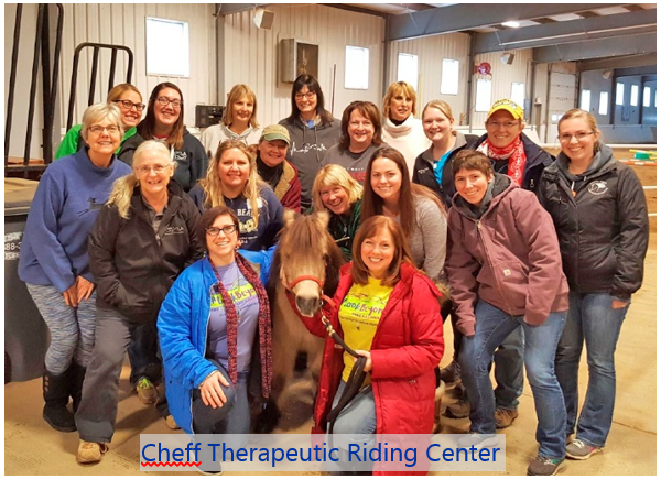 Employees from Cheft Therapeutic Riding Center posing for a photo after taking the Mental Health First Aid training.