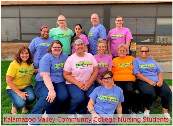 Kalamazoo Valley Community College Nursing Students posing for a photo after taking a Mental Health First Aid Training