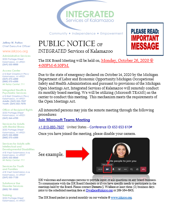 Public Notice for ISK Board Meeting Monday October 26 2020