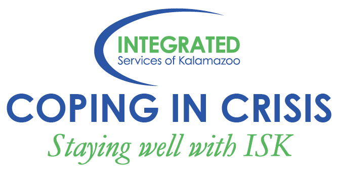 An image with the ISK logo at top and the works Coping in Crisis, Staying well with ISK under it.