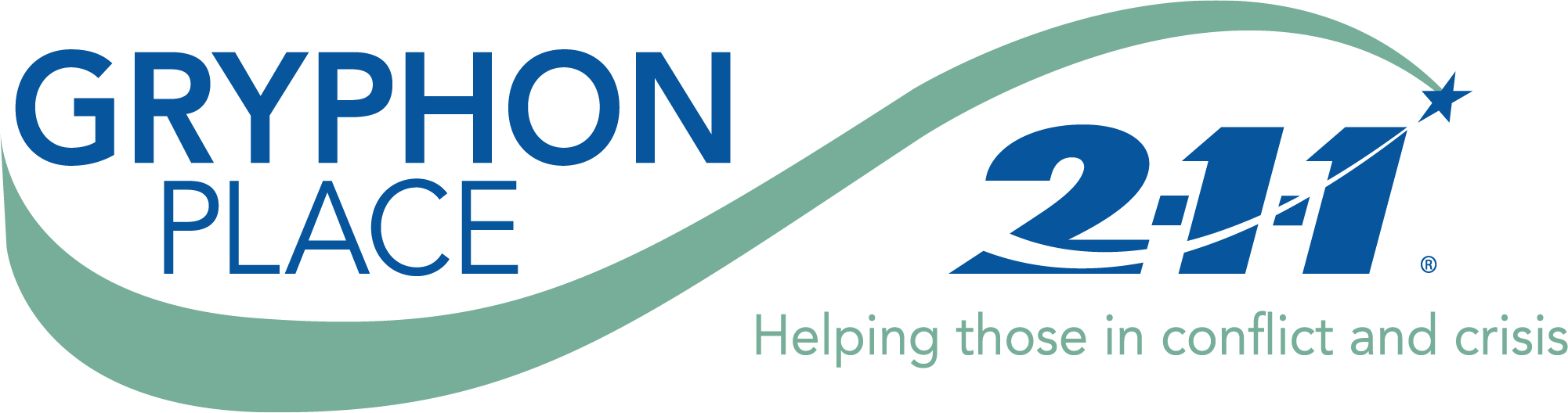 Gryphon Place 2 1 1 logo in blue and green