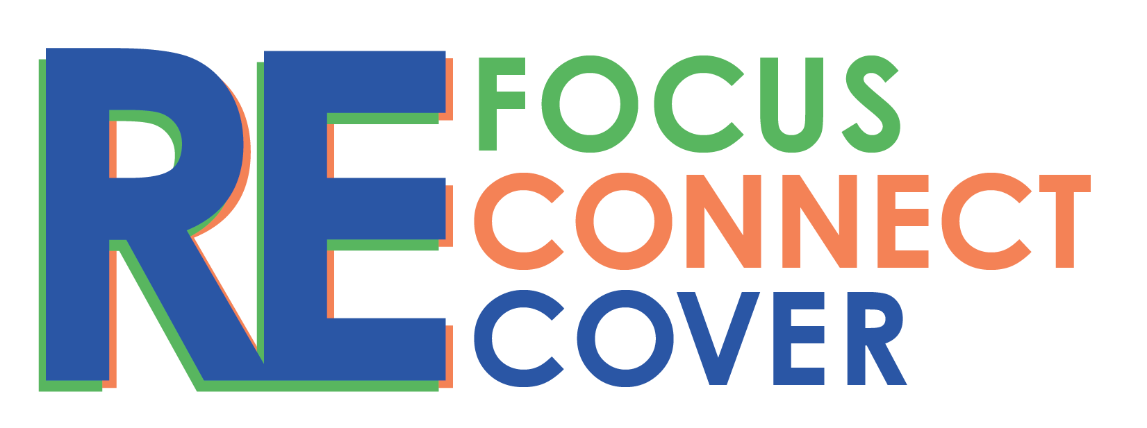 The Refocus, Reconnect and Recover logo in the colors of green, orange and blue.