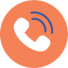 An phone icon. An orange circle with a white phone in the center