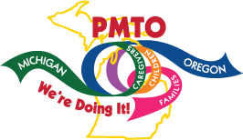 """The PMTO logo that has green orange pink and blue ribbons that readreads Michigan, Caregivers, Children, Families and Oregon. Under the logo it reads """"We're Doing It!"""""""