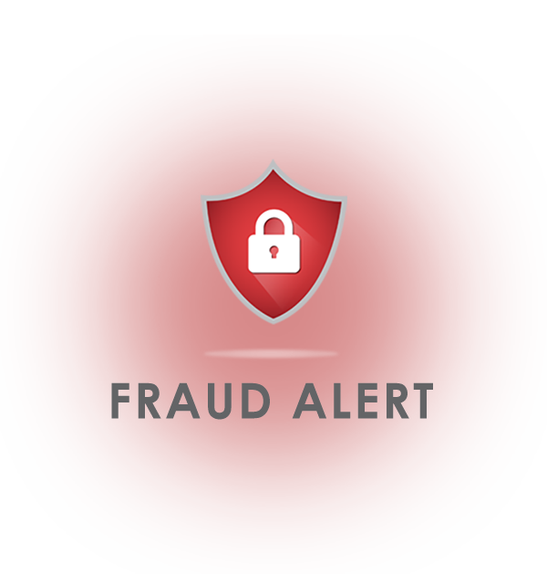 """A red image that has a shield with a lock inside it. There are words """"Fraud Alert"""" under the shield."""