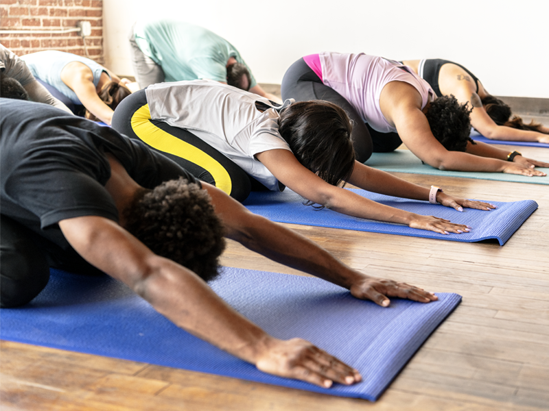 A group of people doing yoga together.